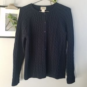 L.L. Bean Chunky Cable Knit Cardigan Sweater L